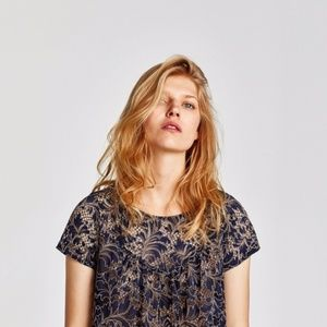 NWT ZARA Two-toned Lace Top